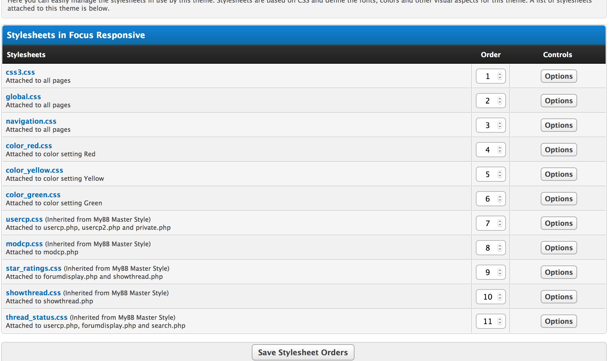 MyBB theme stylesheets order